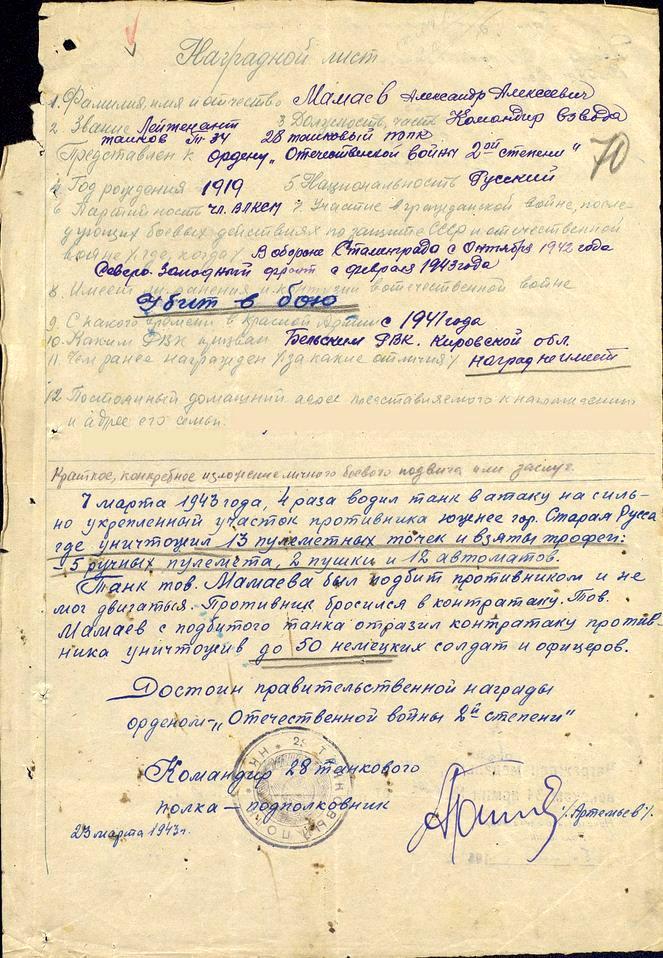 Лейтенант Александр МАМАЕВ. Закат «Полярной звезды» под Старой Руссой.